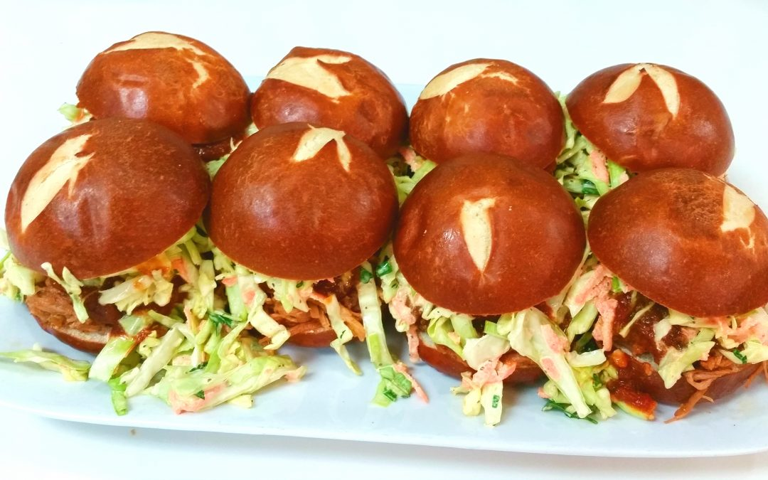 Brown Ale Braised Pulled Pork Sliders with Whiskey BBQ Sauce
