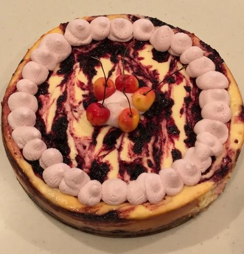 Fire Roasted Cherry Cheesecake (with Cherry Pit Whipped Cream)